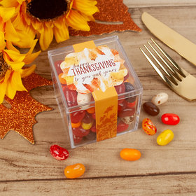 Personalized Thanksgiving Falling Into Autumn JUST CANDY® favor cube with Jelly Belly Jelly Beans