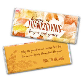 Personalized Thanksgiving Falling Into Autumn Chocolate Bar & Wrapper