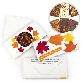 Personalized Thanksgiving Paper Leaves Gourmet Infused Belgian Chocolate Bars (3.5oz)