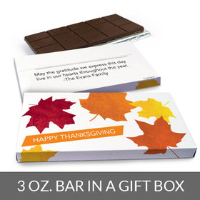 Deluxe Personalized Thanksgiving Fall leaves Chocolate Bar in Gift Box (3oz Bar)