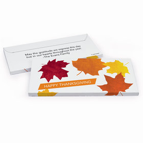 Deluxe Personalized Thanksgiving Fall leaves Chocolate Bar in Gift Box