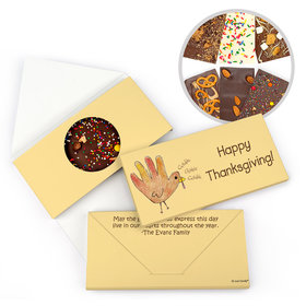Personalized Thanksgiving Handprint Turkey Gourmet Infused Belgian Chocolate Bars (3.5oz)