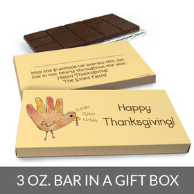 Deluxe Personalized Thanksgiving Handprint Turkey Chocolate Bar in Gift Box (3oz Bar)
