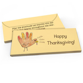 Deluxe Personalized Thanksgiving Handprint Turkey Candy Bar Favor Box
