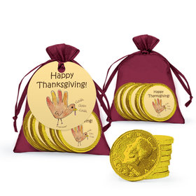 Thanksgiving Handprint Turkey Milk Chocolate Coins in Organza Bags with Gift Tag
