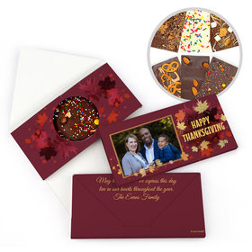 Personalized Thanksgiving Falling Leaves with Photo Gourmet Infused Belgian Chocolate Bars (3.5oz)