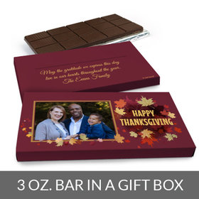 Deluxe Personalized Thanksgiving Leaves with Photo Chocolate Bar in Gift Box (3oz Bar)