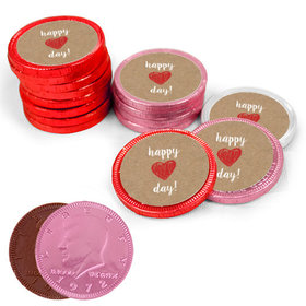 Valentine's Day Red Heart Milk Chocolate Red, Pink and White Coins with Stickers (84 Pack)