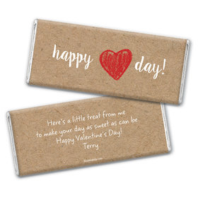 Valentine's Day Personalized Chocolate Bar Wrappers Hand Drawn Heart
