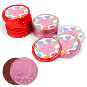Valentine's Day Conversation Heart Milk Chocolate Red, Pink and White Coins with Stickers (84 Pack)