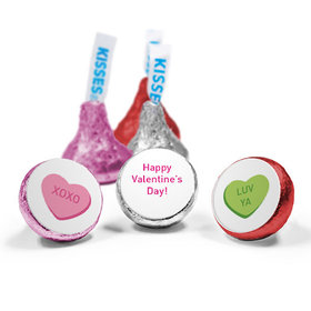 Valentine's Day Personalized Love Mix Hershey's Kisses Conversation Hearts Kid's School Assembled Kisses (50 Pack)