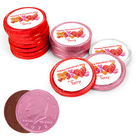 Valentine's Day Marble Hearts Milk Chocolate Red, Pink and White Coins with Stickers (84 Pack)