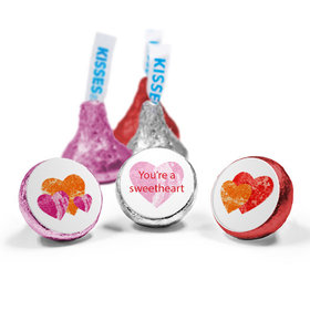 Valentine's Day Personalized Love Mix Hershey's Kisses Marble Hearts Assembled Kisses (50 Pack)