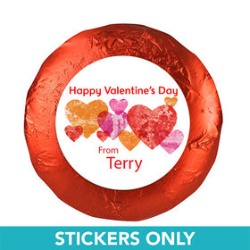 "Valentine's Day Marble Hearts 1.25"" Stickers (48 Stickers)"