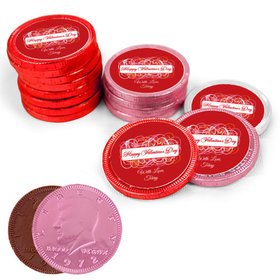Valentine's Day Swirls Milk Chocolate Red, Pink and White Coins with Stickers (84 Pack)