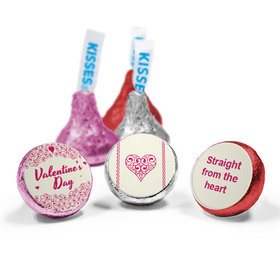 Valentine's Day Personalized Love Mix Hershey's Kisses Heart Swirls Assembled Kisses (50 Pack)