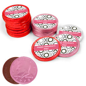 Valentine's Day XOXO Milk Chocolate Red, Pink and White Coins with Stickers (72 Pack)