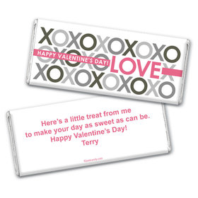 Valentine's Day Personalized Chocolate Bar Wrappers XOXO Pattern