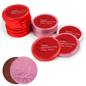Valentine's Day Heart Pattern Milk Chocolate Red, Pink and White Coins with Stickers (84 Pack)