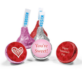 Valentine's Day Personalized Love Mix Hershey's Kisses Heart Confetti Assembled Kisses (50 Pack)