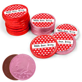 Valentine's Day Little Hearts Milk Chocolate Red, Pink and White Coins with Stickers (72 Pack)