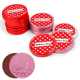 Valentine's Day Dots Milk Chocolate Red, Pink and White Coins with Stickers (84 Pack)