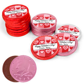 Valentine's Day Fading Hearts Milk Chocolate Red, Pink and White Coins with Stickers (84 Pack)