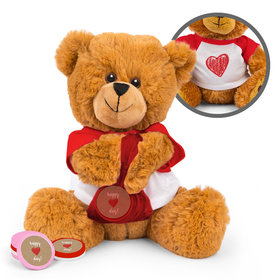Personalized Valentine's Day Hand Drawn Heart Teddy Bear with Chocolate Coins in XS Organza Bag