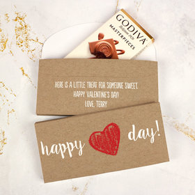 Deluxe Personalized Valentine's Day Drawn Heart Godiva Chocolate Bar in Gift Box
