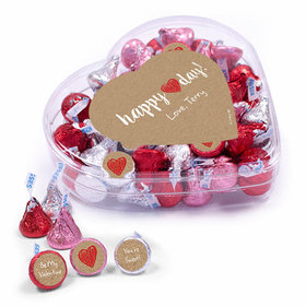 Personalized Valentine's Day Red Heart Clear Heart Box 13oz