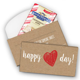 Deluxe Personalized Valentine's Day Happy Heart Ghirardelli Peppermint Bark Bar in Gift Box (3.5oz)