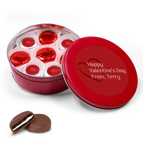 Personalized Valentine's Day Pattern Red Tin with 16 Belgian Chocolate Covered Oreo Cookies