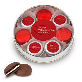 Valentine's Day Hearts Silver Large Plastic Tin with 8 Belgian Chocolate Covered Oreo Cookies