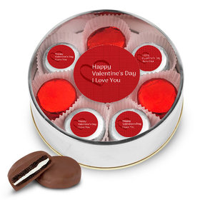 Valentine's Day Silver Extra Large Plastic Tin - 16 Chocolate Covered Oreo Cookies