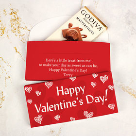 Deluxe Personalized Valentine's Day Scribble Hearts Godiva Chocolate Bar in Gift Box