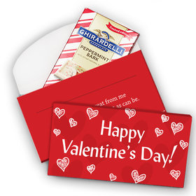 Deluxe Personalized Valentine's Day Scribble Hearts Ghirardelli Peppermint Bark Bar in Gift Box (3.5oz)