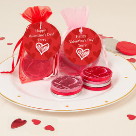 Personalized Valentine's Day Scribble Heart Chocolate Coins in XS Organza Bags