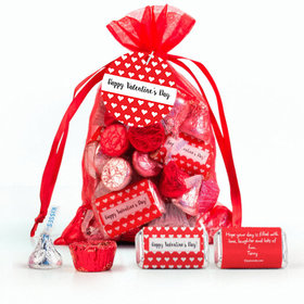 Personalized Red Medium Organza Bag Little Hearts Valentine's Day Hershey's Mix