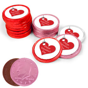 Valentine's Day Hanging Hearts Milk Chocolate Red, Pink and White Coins with Stickers (84 Pack)
