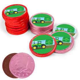 Valentine's Day Harvest Milk Chocolate Red, Pink and White Coins with Stickers (72 Pack)