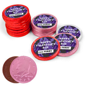Valentine's Day Camo Milk Chocolate Red, Pink and White Coins with Stickers (84 Pack)