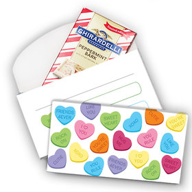 Deluxe Personalized Valentine's Day Conversation Hearts Ghirardelli Peppermint Bark Bar in Gift Box (3.5oz)