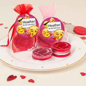 Personalized Valentine's Day Emoji Chocolate Coins in XS Organza Bags