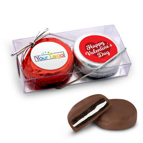 Add Your Logo Valentine's Day Script Heart 2Pk Belgian Chocolate Covered Oreo Cookies