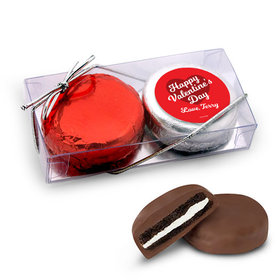 Personalized Valentine's Day Script Heart 2Pk Belgian Chocolate Covered Oreo Cookies