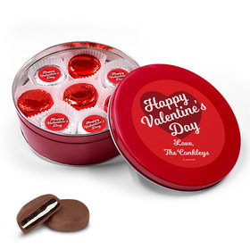 Personalized Valentine's Day Script Heart Red Tin with 16 Belgian Chocolate Covered Oreo Cookies