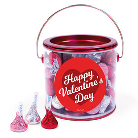 Happy Valentine's Day Script Heart Hershey's Kisses Red Paint Can