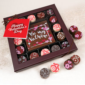 Personalized Valentine's Day Script Heart Gourmet Belgian Chocolate Truffle Gift Box (17 pieces)