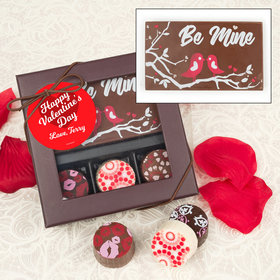 Personalized Valentine's Day Script Heart Gourmet Belgian Chocolate Bar and Truffles (3 Truffles)
