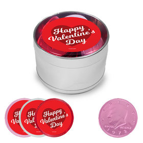 Valentine's Day Milk Chocolate Coins in Medium Silver Plastic Tin (24 Coins with stickers)